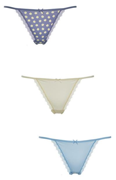 Mixed Colour String Thongs 3 Pack