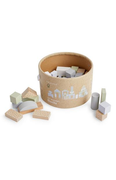 Baby Wooden Play Blocks, 50 Pieces
