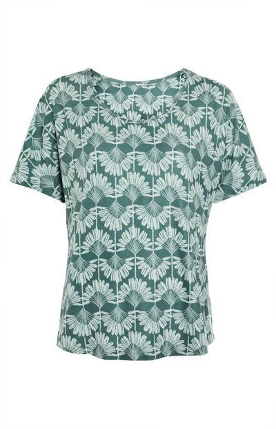 Grünes Rundhals-T-Shirt mit Print
