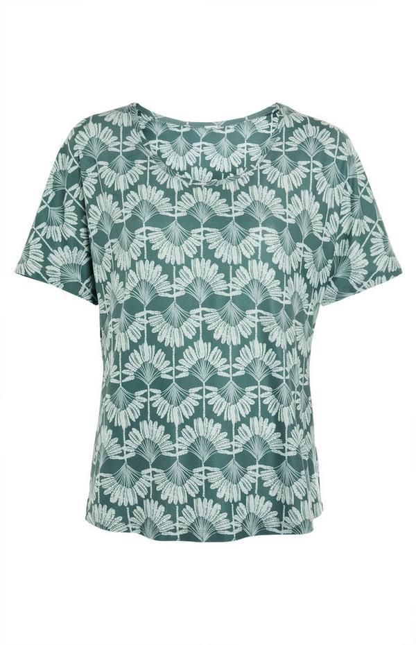 Zelena majica z okroglim ovratnikom in potiskom