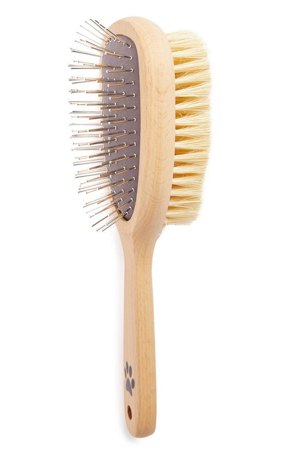 Wooden Double Sided Bristle Pet Brush