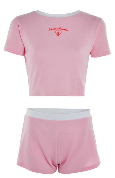 Pink Heartbreaker Crop Top And Shorts Set