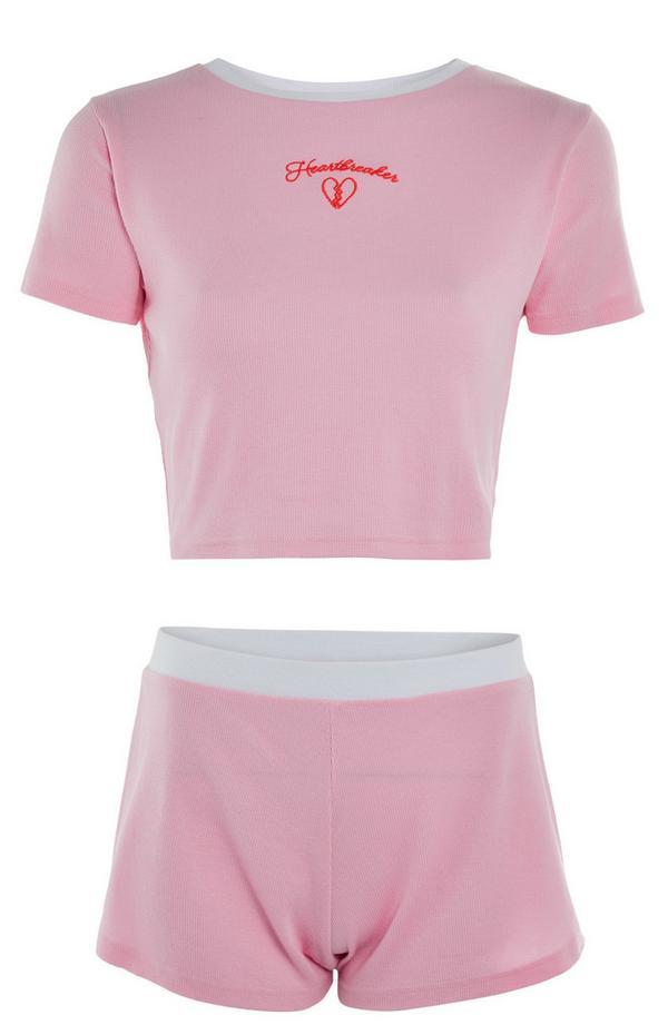 Rožnat komplet kratke majice in kratkih hlač Heartbreaker