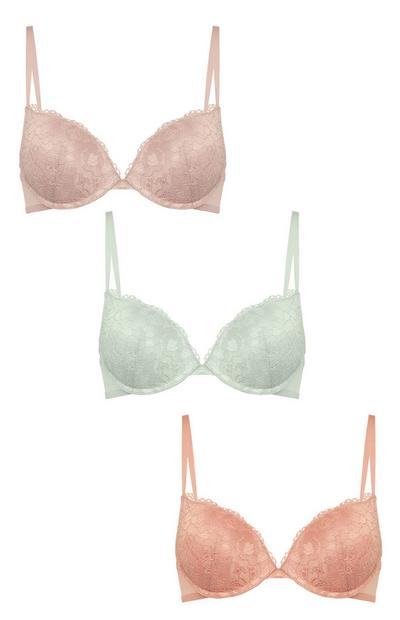 Mixed Color Push-Up Bras 3-Pack Sizes A-D
