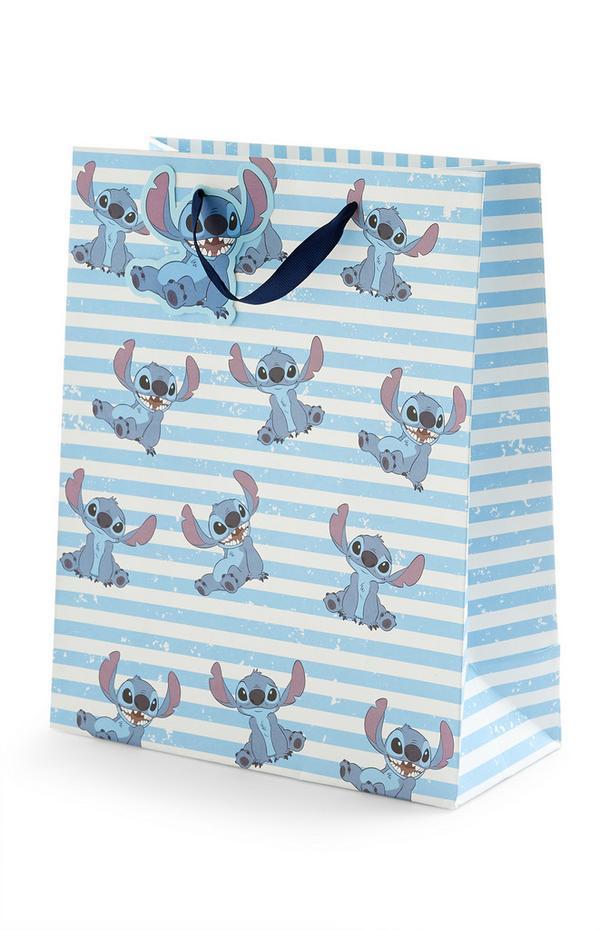 Blauw gestreepte geschenktas Lilo & Stitch