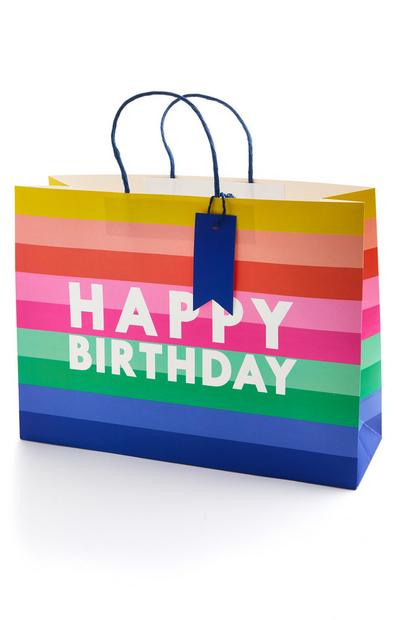 Saco presente Happy Birthday riscas grande multicolor