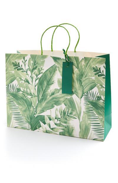 Große Geschenktüte mit grünem Palmenmuster
