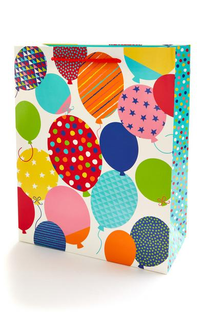 Multicolour Balloon Print Celebration Gift Bag
