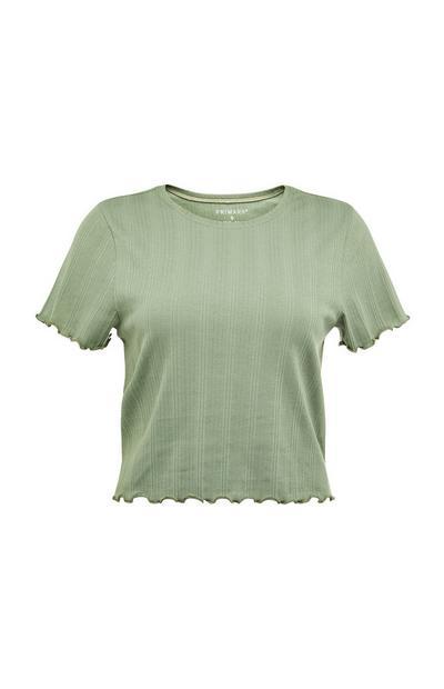 T-shirt canelada bainha franzidos verde