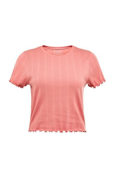 T-shirt canelada bainha franzidos coral