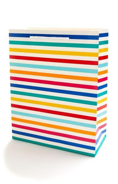 Multicolour Striped Gift Bag