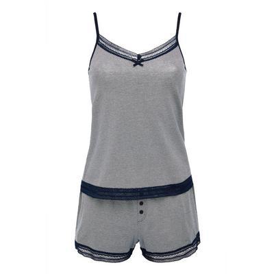 Pijama curto elástico algodão riscas monocromático