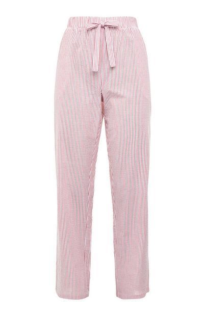 Leggings cordão cintura tecido Seersucker riscas cor-de-rosa