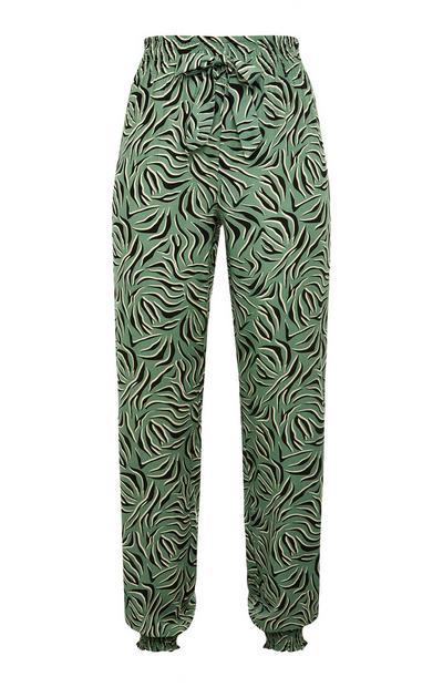 Leggings pijama cordão cintura estampado folhas viscose verde