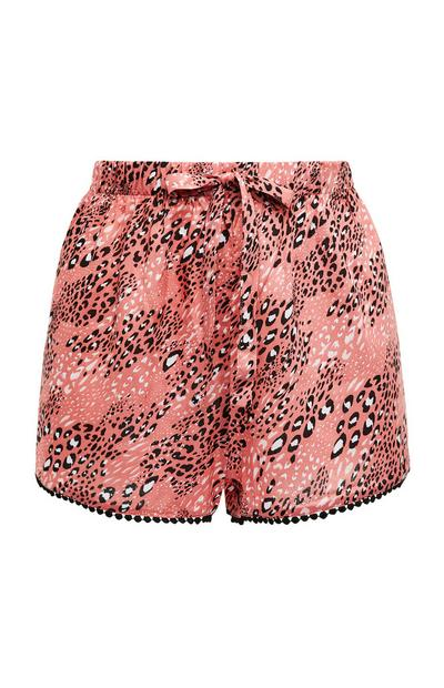 Shorts rosa con stampa animalier in viscosa allacciati in vita