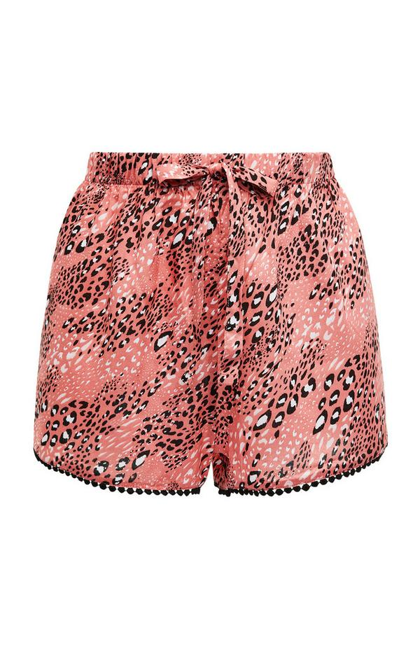 Pink Animal Print Viscose Tie Waist Shorts