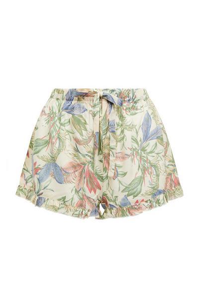 Shorts panna con stampa floreale in viscosa allacciati in vita