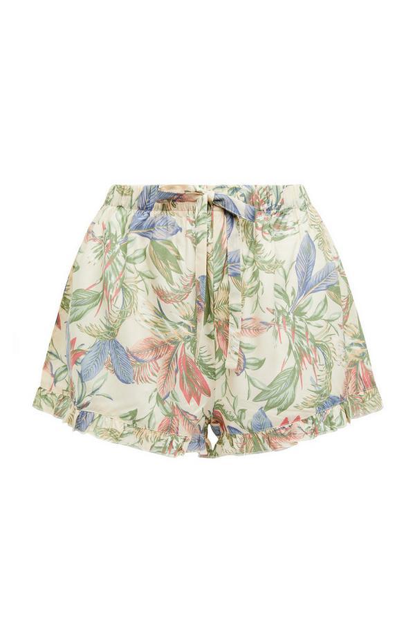Cream Floral Print Viscose Tie Waist Shorts