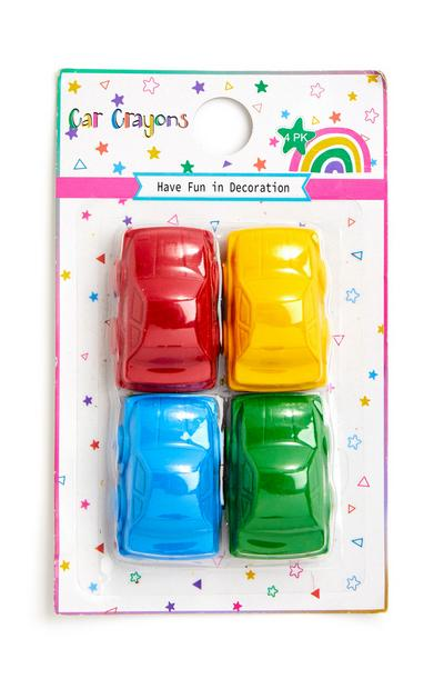 Multicolour Toy Car Crayons 4 Pack