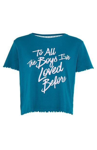 "Geripptes ""To All The Boys"" T-Shirt in Blaugrün"