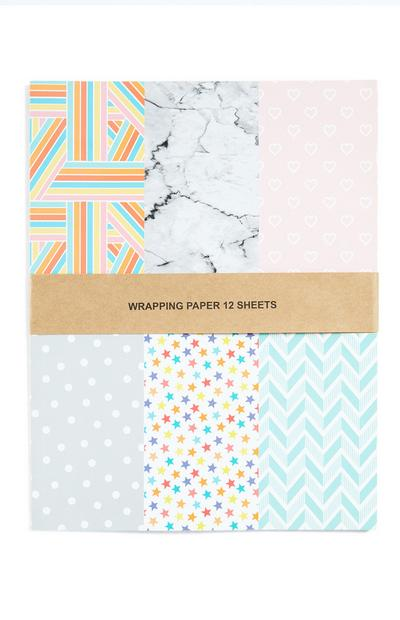 Patterned Wrapping Paper 12 Sheets