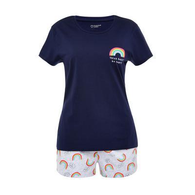 Navy Rainbow Print Short Pyjamas Set