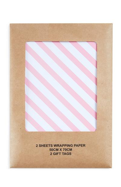 Pink Candy Stripe Wrapping Paper 2 Sheets