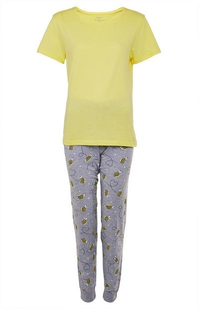Yellow And Grey Bee Print Cotton Pajama Set