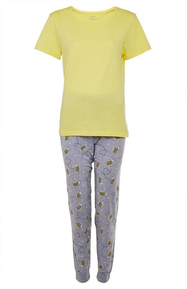 Yellow And Grey Bee Print Cotton Pajama Set