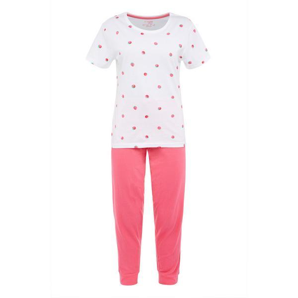 Pink Strawberry Print Pyjamas Set