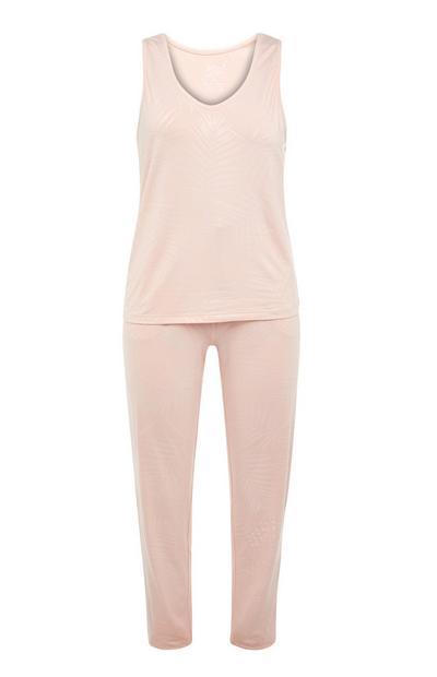 Canotta e leggings da notte rosa cipria