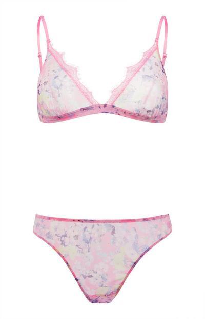Pink Mesh Print Lingerie Set