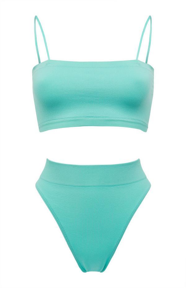 Turquoise naadloos bandeau-lingeriesetje