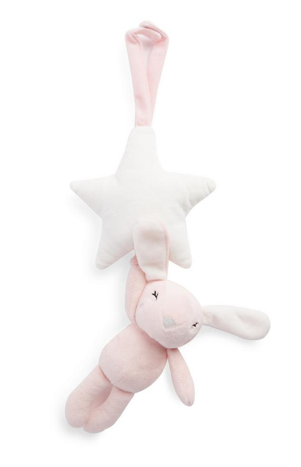 Peluche musical de felpa rosa de conejito para cuna de bebé
