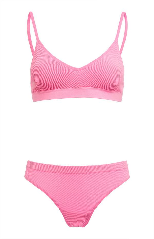 Conjunto lingerie s/ costuras cor-de-rosa