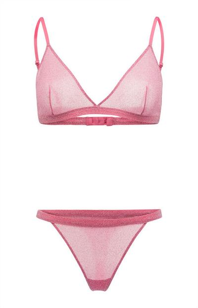 Pink Glitter Triangle Bra And Thong Briefs Set