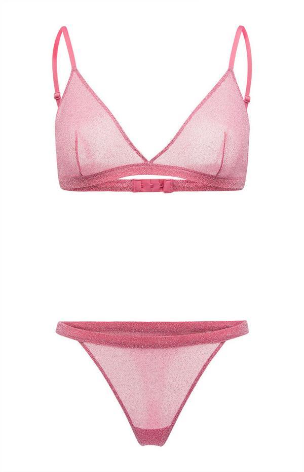 Pink Glitter Triangle Bra And Thong Briefs Set