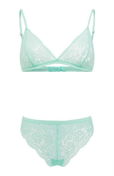 Mint Green Lace Triangle Lingerie Set
