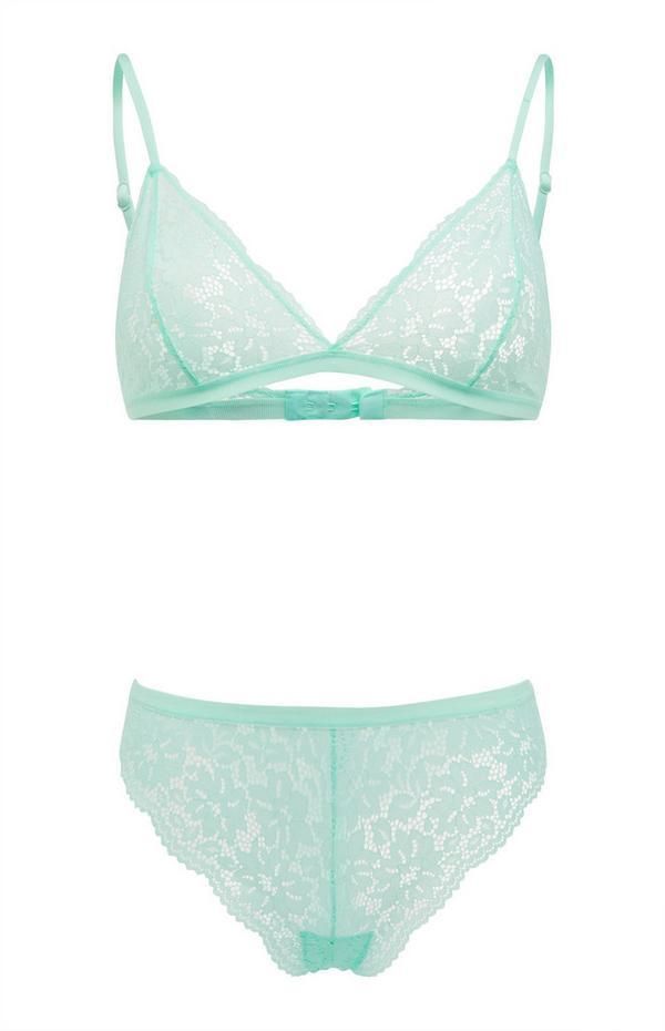 Mint Green Lace Triangle Lingerie Set