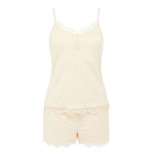Ecru Cotton Stretch Short Pajamas Set