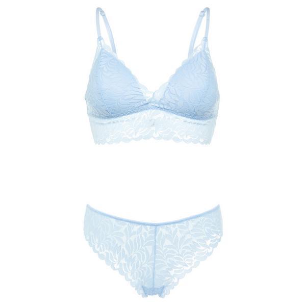 Baby Blue Leaf Lace Bralette Lingerie Set
