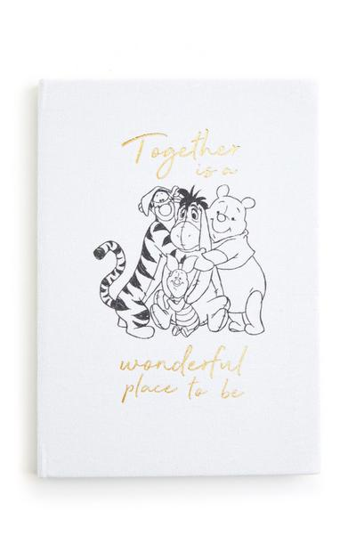 White Winnie The Pooh A5 Hardback Canvas Notebook