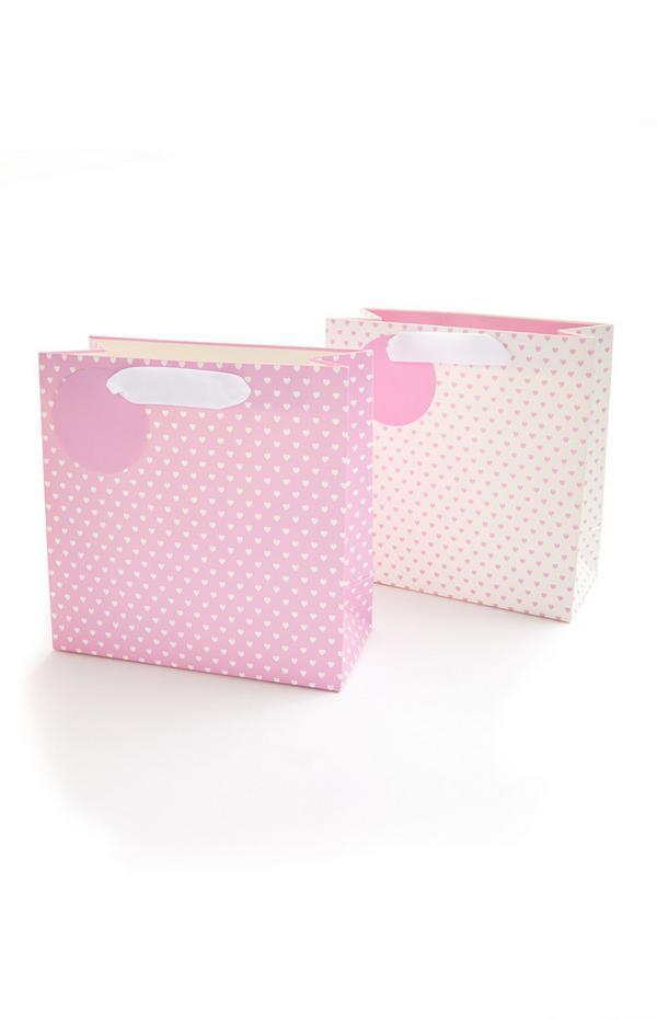 Rožnato-bela pikčasta darilna vrečka s srčki