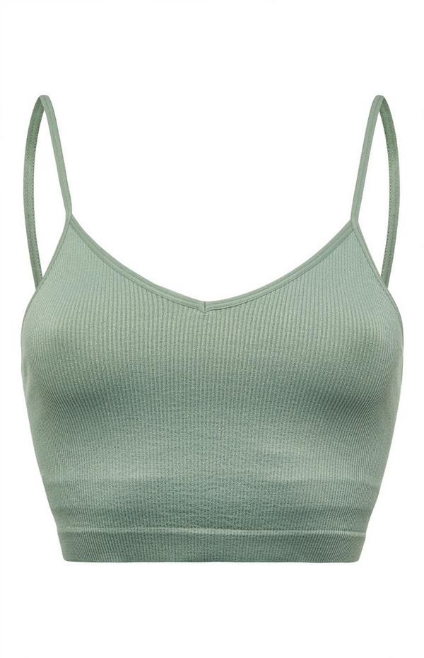 Green Ribbed Cropped Camisole