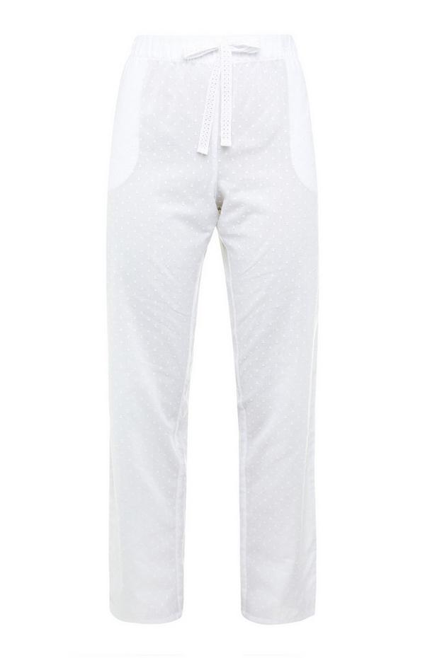 White Swiss Dot Tie Waist Leggings