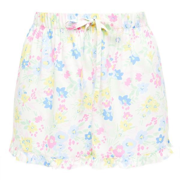 Pastel Floral Print Viscose Night Shorts