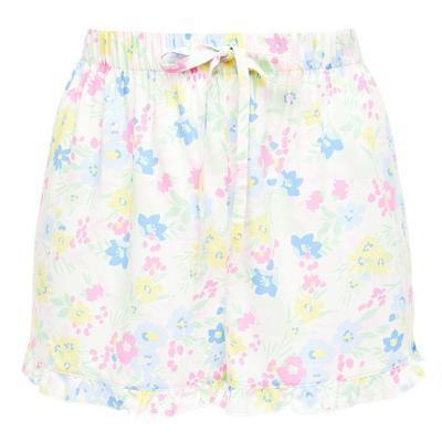 Shorts da notte pastello in viscosa con stampa floreale