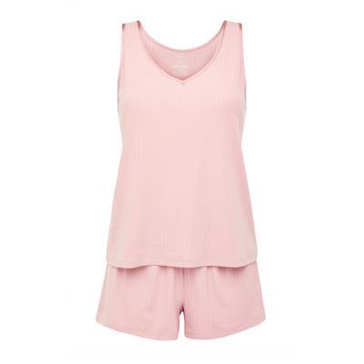 Blush Pink Ribbed Short Pyjama Set