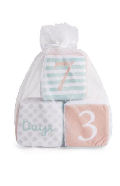 Cubos de peluche de felpa con hitos para bebé