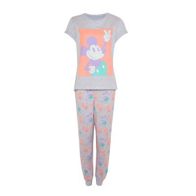 Gray Disney Mickey Mouse Print Pajama Set